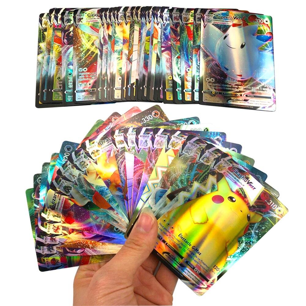 10-300 pièces cartes Pokemon françaises Vmax TAG TEAM GX brillant bataille jeu de Trading enfants Carte Francaise V Max jouet