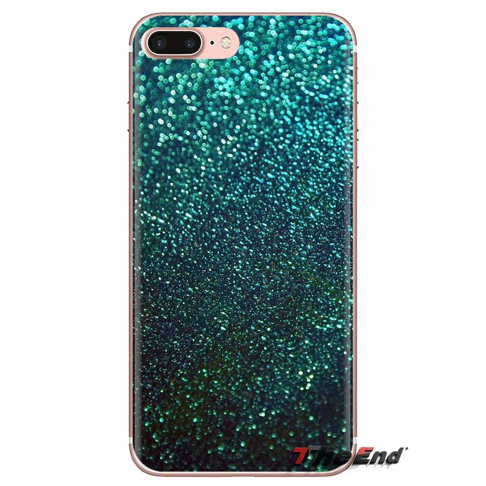Untuk Samsung Galaxy S2 S3 S4 S5 Mini S6 S7 Edge S8 S9 Plus Note 2 3 4 5 8 coque Fundas Aqua Perak Mint Hijau Glitter Phone Cover