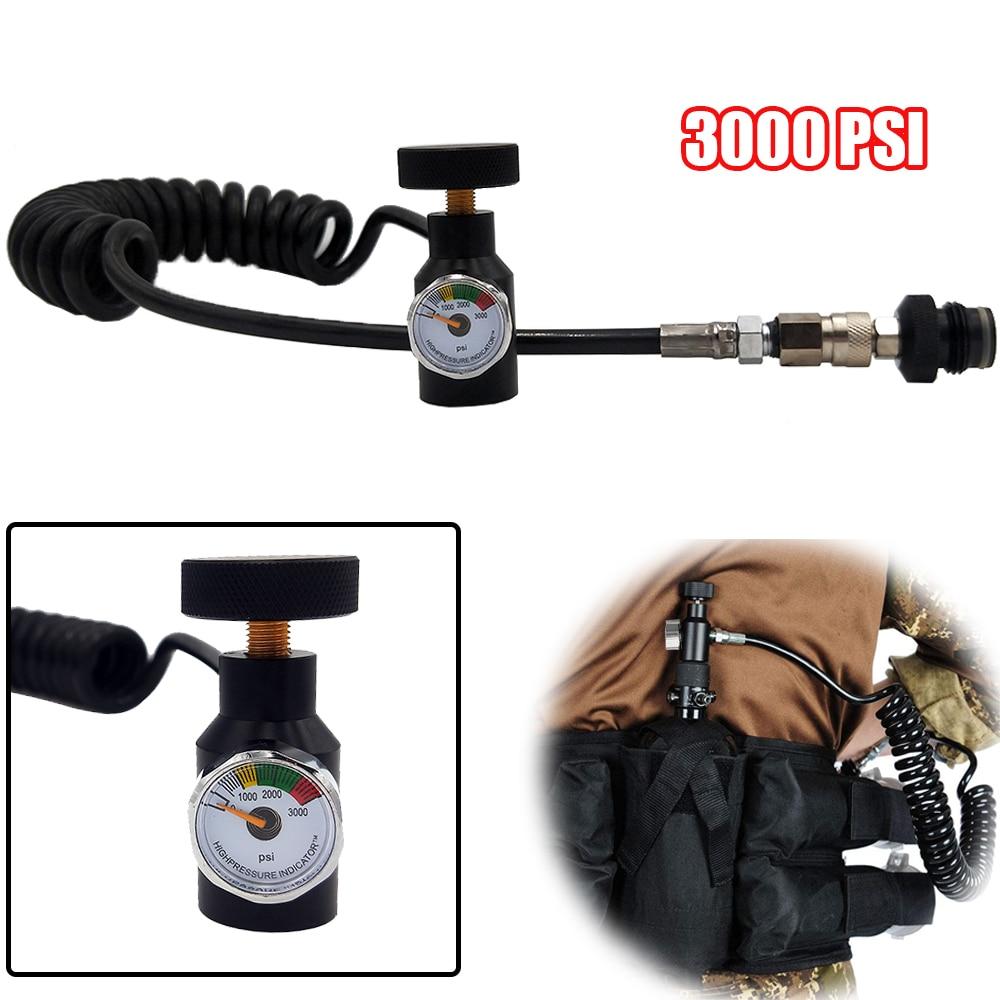 Paintball PCP Remote Hose Coil Line W/Quick Disconnect & 3000psi Mini Gauge 2.5m(extend)