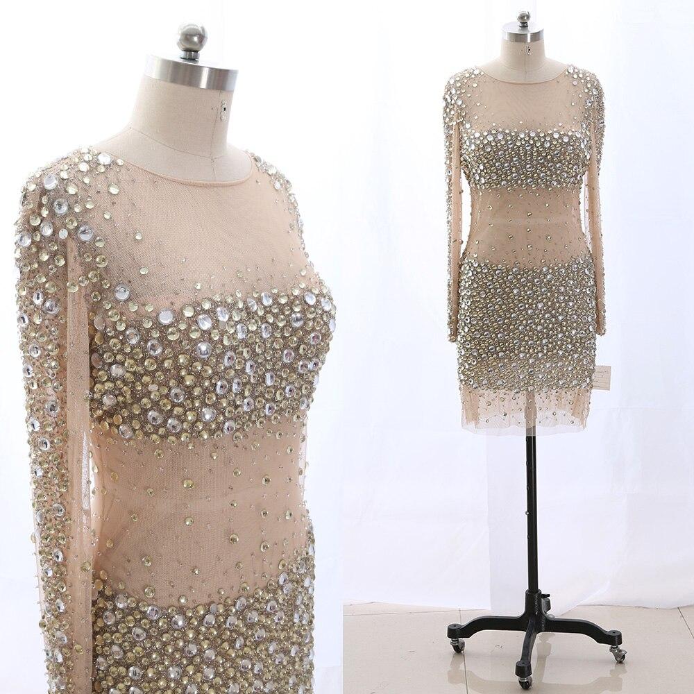 MACloth Blush Sheath O Neck Knee-Length Short Crystal Tulle   Prom     Dresses     Dress   XL 265448 Clearance