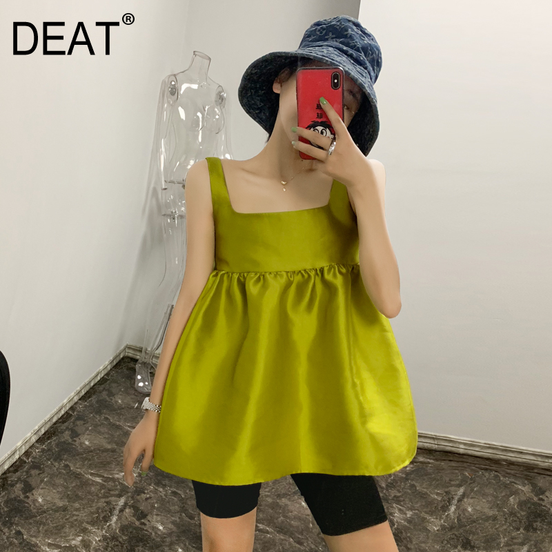 DEAT Yellow Green Square Collar Sleeveless Mosaic Ruffled Woman Doll Shirt Sweet Versatile Simple Fashion 2020 Summer New TV679