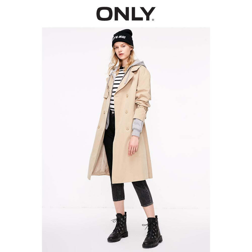 ONLY Autumn Winter Women's Long Cinched Waist   Trench   Coat   119136504