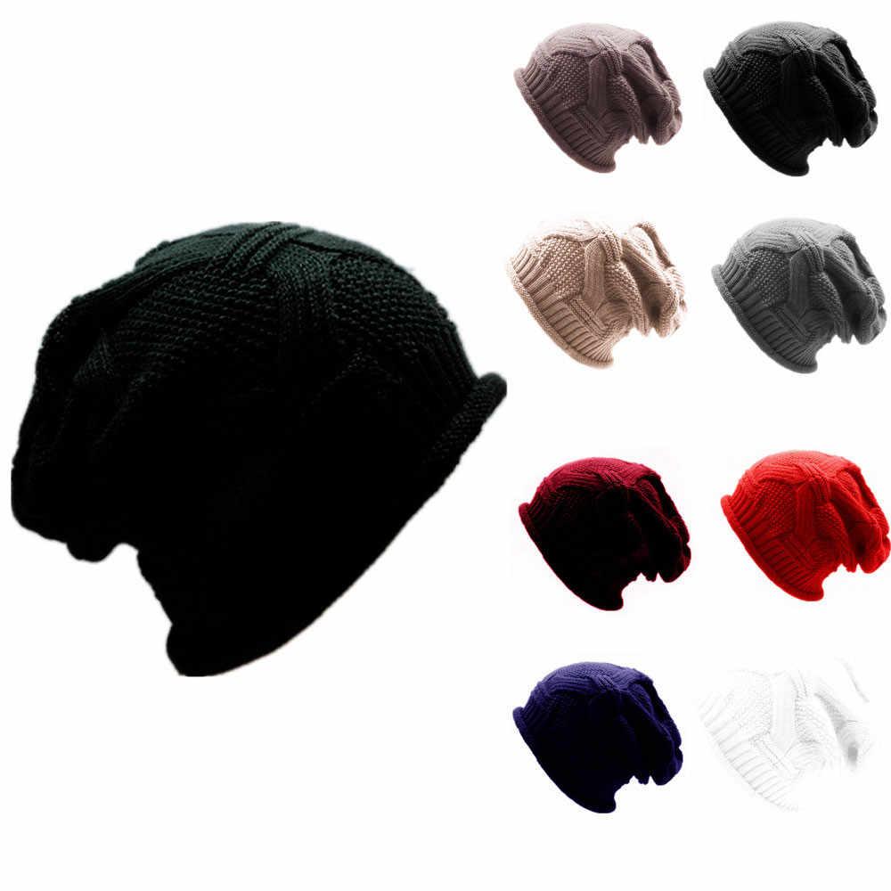 الرجال النساء فضفاض دافئ الكروشيه الشتاء الصوف متماسكة تزلج قبعة الجمجمة مترهل قبعات قبعة للجنسين الشتاء قبعة الهيب هوب الشتاء قبعات دافئة
