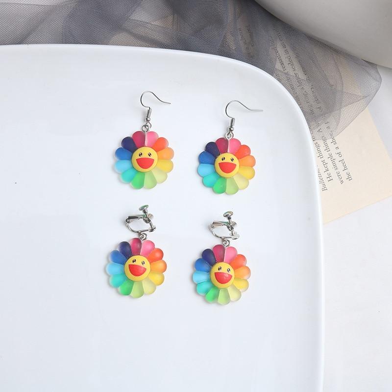 Flowers Stud Earrings Women Earring Rainbow Sunflower Pendant Cute Fun Sweet Cartoon Fashion High Quality Jewelry Polymer Clay