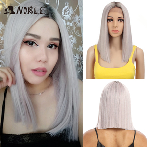 Noble Cosplay Synthetic Lace Front Wig Short Bob Straight 14 Inch Pink Lace Front Blonde Wigs Lace front Wigs For Black Women(China)