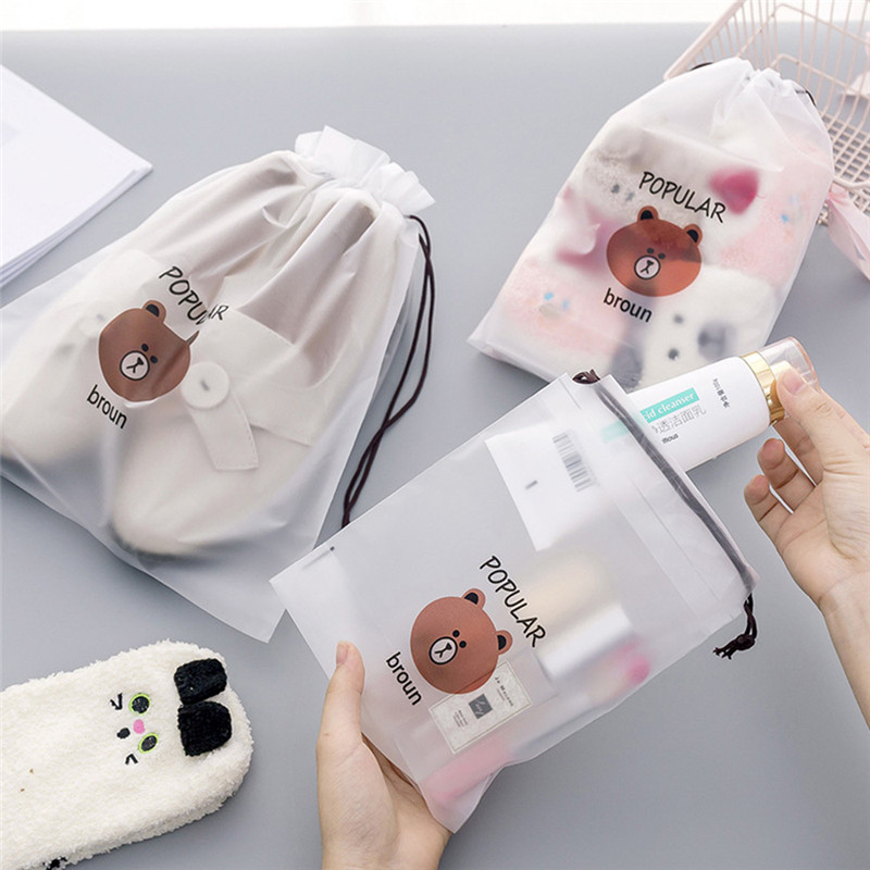 Cartoon Bear Waterproof Make Up Box Transparent Travel Cosmetic Bag Make Up Case Beauty Wash Organizer Toiletry Storage Kit Box