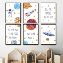Space Rocket Astronaut Ufo Quotes Nursery Nordic Posters And Prints Wall Art Canvas Painting Wall Pictures Baby Kids Room Decor astronaut spaceship canvas poster nursery quotes wall art print cartoon painting nordic kids decoration pictures baby room decor