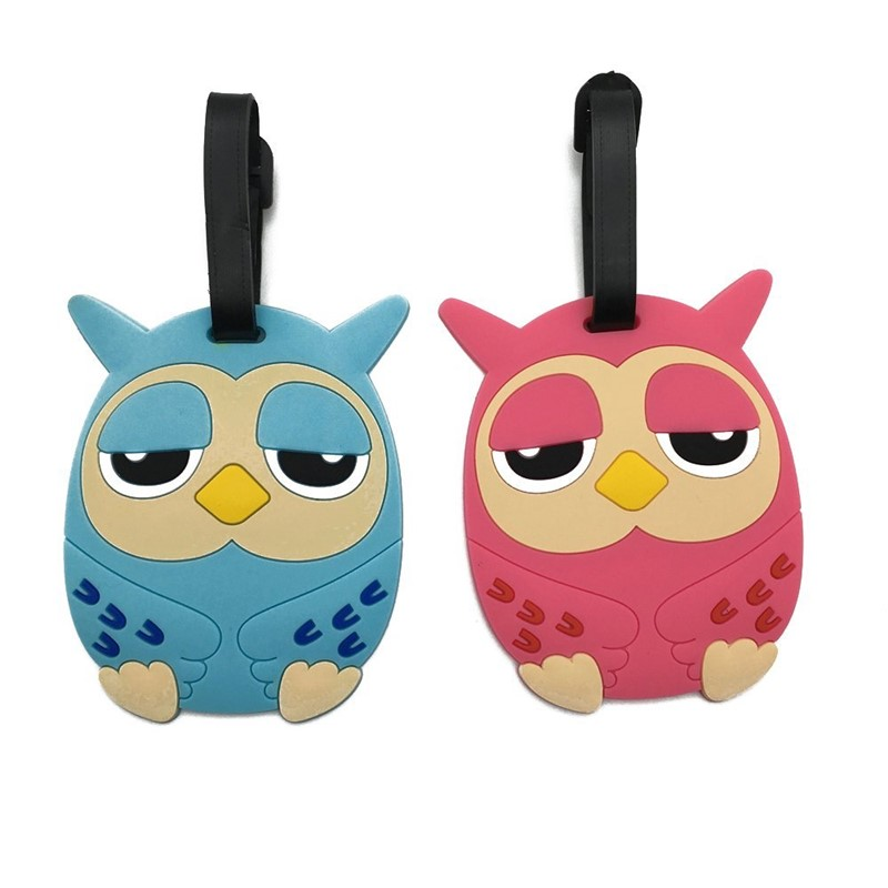 Cute Owl  Luggage Travel Accessories Tag Silica Gel Suitcase ID Address Holder Baggage Boarding Tag Portable Label