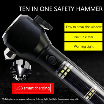 Car Accessories 10 In1 Solar Power LED Flashlight Safety Hammer Torch Light Work Light Compass Alarm System USB Charger 1