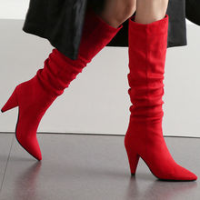 Women Knee High Boots Flock Pointed Toe Spike Heels Slip On High Heels Female Long Boots Red Black Brown Size 34-43 BT17 fashion knight boots women long boots soft leather bowtie boots round toe slip on solid knee high women boots black and brown