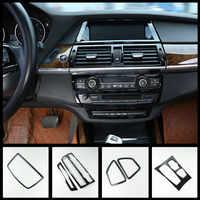 Estilo do carro Do Console Quadro Painel CD do Deslocamento de Engrenagem Tampa Guarnição Para BMW X5 E70 X6 E71 Tiras de Apoio de Braço Da Porta Interior respiradouro de ar Adesivo