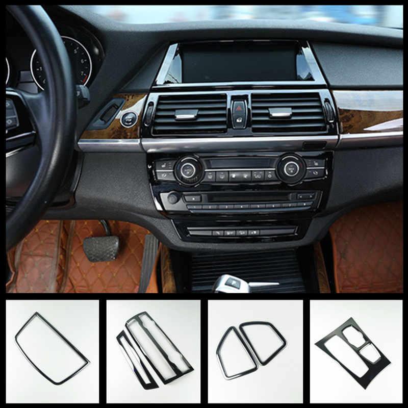 รถจัดแต่งทรงผมคอนโซลเกียร์ SHIFT กรอบ CD Trim สำหรับ BMW X5 E70 X6 E71 ภายในประตูแขนแถบ air Vent สติกเกอร์