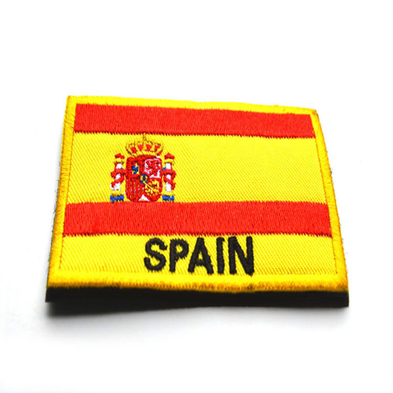 Embroidered Velcro Label Spain Flag Shoulder Emblem 2-the National Flag Made