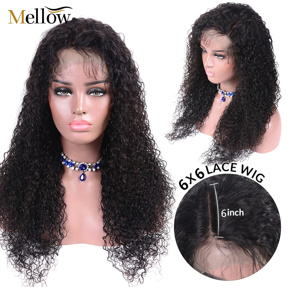 Closeout DealsÉPeruvian Jerry Curl Lace Closure Human Hair Wigs 5*5 6*6 Curly Lace Closure Wig 150 Density Pre Plucked Curly Hair Wigs