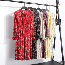 6 Styles Bowtie Chiffon Floral Dress Women Sweet Vintage Lace-up Print Long Sleeve Dresses Korean S-XL Red Black Vestidos Mujer bowtie chiffon long sleeve dress women korean vintage black print sweet ladies dresses autumn kawaii midi robe femme 2019 s xl