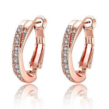 Pendientes de oro rosa de 14 k para mujer, joyería de moda, pendientes de cristal para mujer eh1310