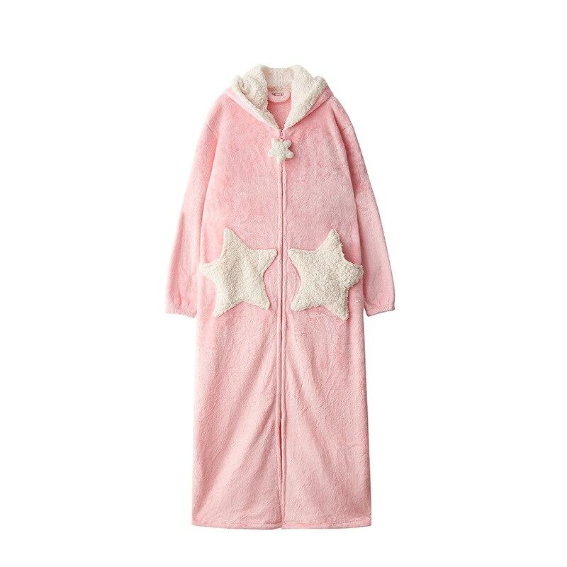 Femmes bleu rose gris décontracté hiver flanelle maison chaud vêtements de nuit Europe femme corail velours belle étoile en vrac longues Robes à capuche