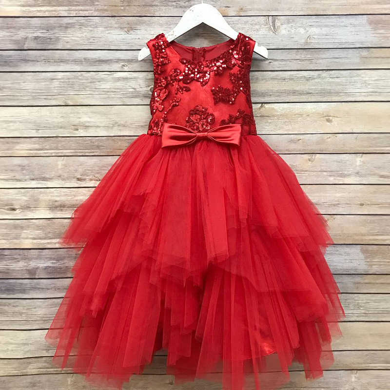 2018 Childrenswear Formal Dress Girls Sequin Children Princess Tutu Dresses Of Bride Fellow Kids Wedding Dress