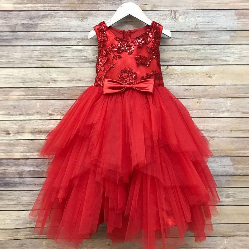 2018 Childrenswear Formal Dress Girls Sequin Children Princess Tutu Dresses Of Bride Fellow Kids Wedding Dress