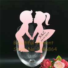 New 50 PCS Paper Name Place Card Kiss Lover Wine Glass Card for Wedding Table Decoration Customized Text Wine Glass Place Cards dog mother wine lover