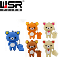 New lovely bear rilakkuma style usb2.0 pen drive 32gb 64gb portable mini  waterproof usb flash 4gb 8gb 16gb silicone gift