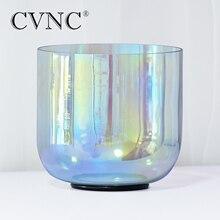 """CVNC 7 """"432Hz 4 octave gris clair Quartz cristal bol chantant avec lumière cosmique"""