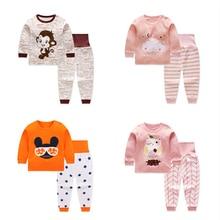 Комплект одежды с героями мультфильмов для маленьких мальчиков и девочек; одежда с длинными рукавами для новорожденных; комплект из топа и штанов; детское нижнее белье; коллекция года; сезон осень-зима
