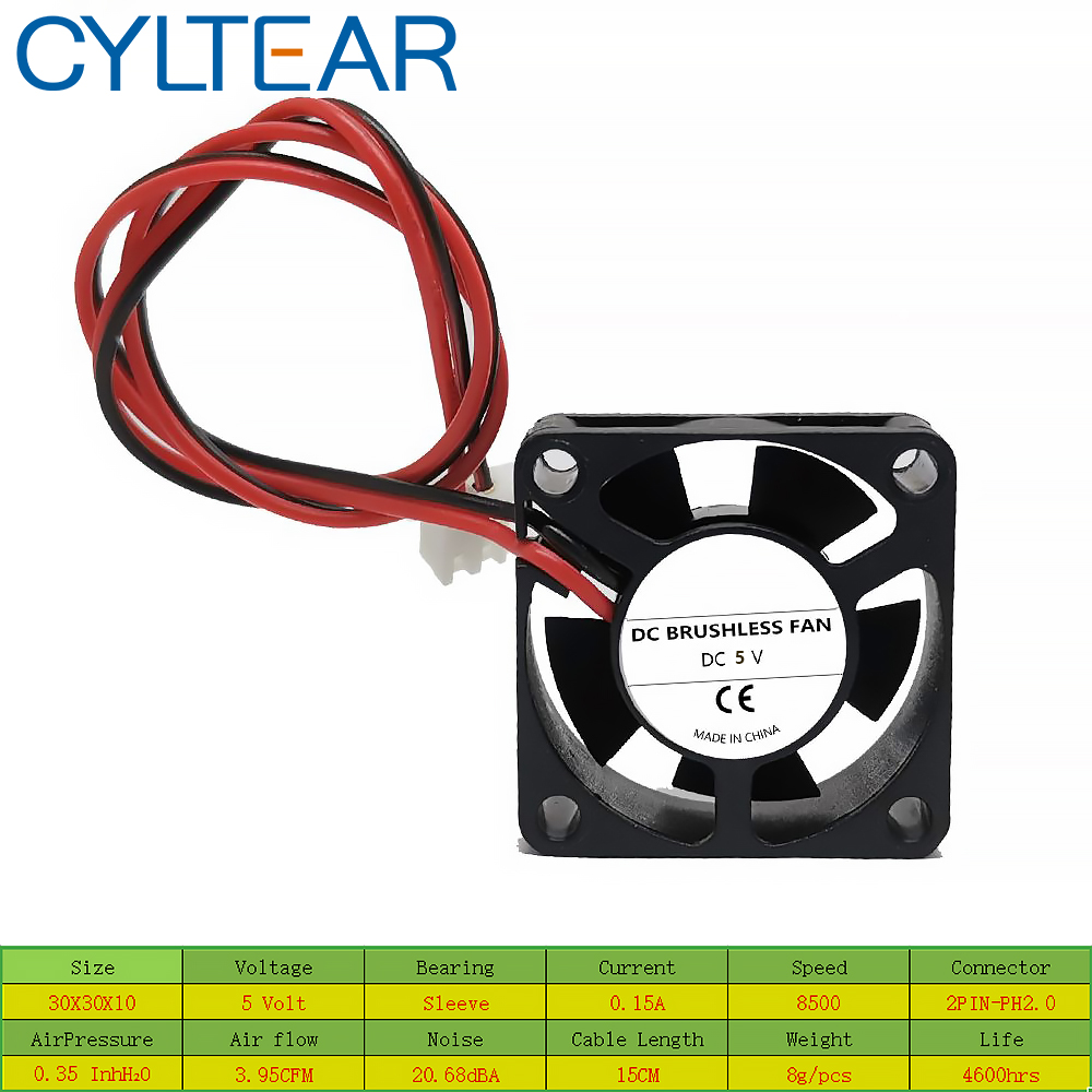 2PCS CYLTEAR Silence <font><b>fan</b></font> DC 24V 12V <font><b>5V</b></font> 3cm <font><b>30mm</b></font> 30x30x10mm 3010 Brushless Mini Cooler Cooling <font><b>Fan</b></font> image