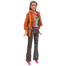 цены Fashion Doll Party Clothes Elegant Blouse Four Seasons Casual Wear Suit for Barbie Doll Trousers Clothes Accessories Girls Gift