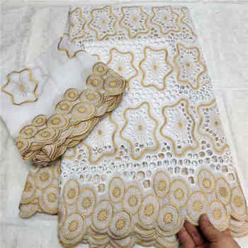 African Swiss Lace Fabric 2020 High Quality Swiss Voile Lace white Cotton African Dresses For Women Dress 5yards+2yards