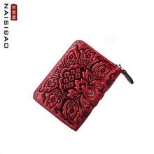 NAiSIBAO 2019 New women Genuine Leather bag fashion retro leather embossed zipper mini wallet purse card