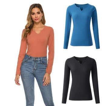 2020 European and American spring new bottoming shirt solid color V-neck long-sleeved sweater top winter clothes women 2019 autumn and winter new european and american women s round neck long sleeved printed lace slim a line dress