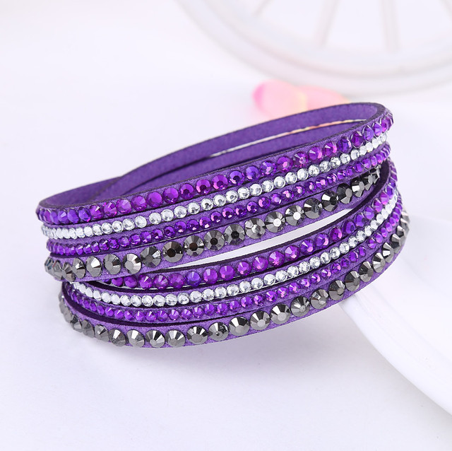 Leather Bracelet Rhinestone...