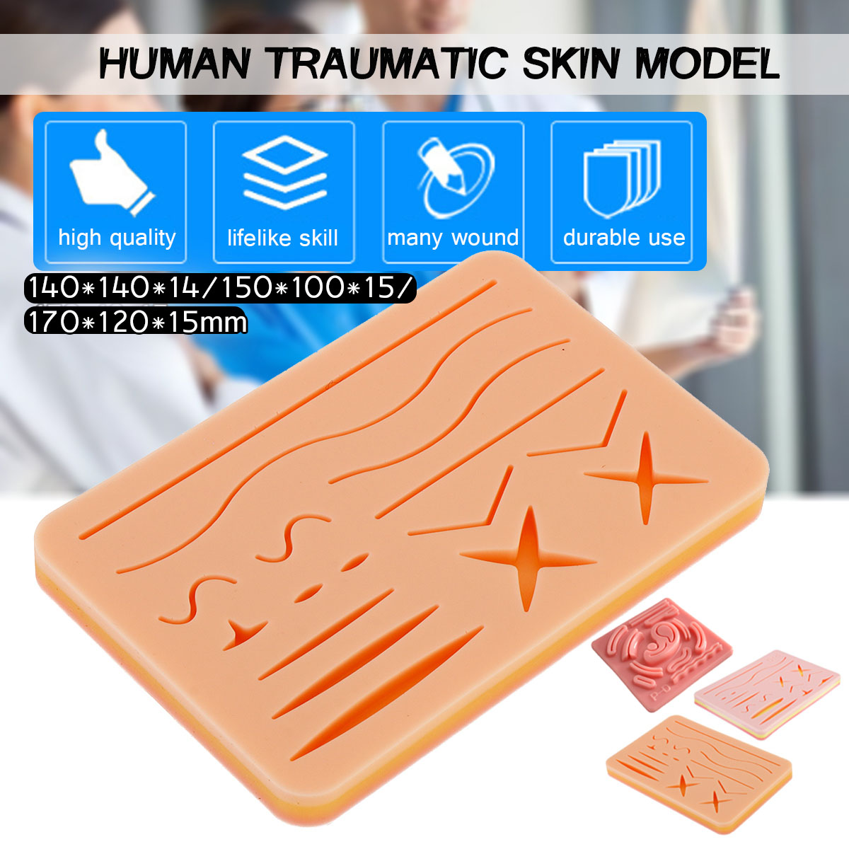 Medical Suture Training Kit Human Traumatic Skin Model Suturing Practice Training Pad Set Doctor Nurse Teaching Resources