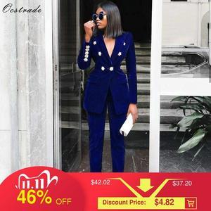 Image 1 - Ocstrade conjuntos de verão para as mulheres 2020 novo azul marinho com decote em v manga longa sexy 2 peça conjunto roupas alta qualidade conjunto duas peças terno