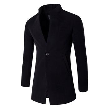 ZOGAA moda wiatrówka męska zimowa wełna płaszcz z mieszanki wąski sweter wykop jeden przycisk stójka wełniany płaszcz męski tanie i dobre opinie CN (pochodzenie) Pełne REGULAR COTTON Wełniana STANDARD 1299-F102 JERSEY NONE Stałe long MANDARIN COLLAR Konwencjonalna