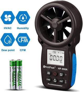 HoldPeak HP-866A 0.3~40m/s Anemometer Wind Speed Meter Portable Air Flow Tester USB Interface Handheld -10~60'C Temperature Test gm8902 wind speed meter air flow tester air temperature meter portable handheld anemometer with usb interface hot selling