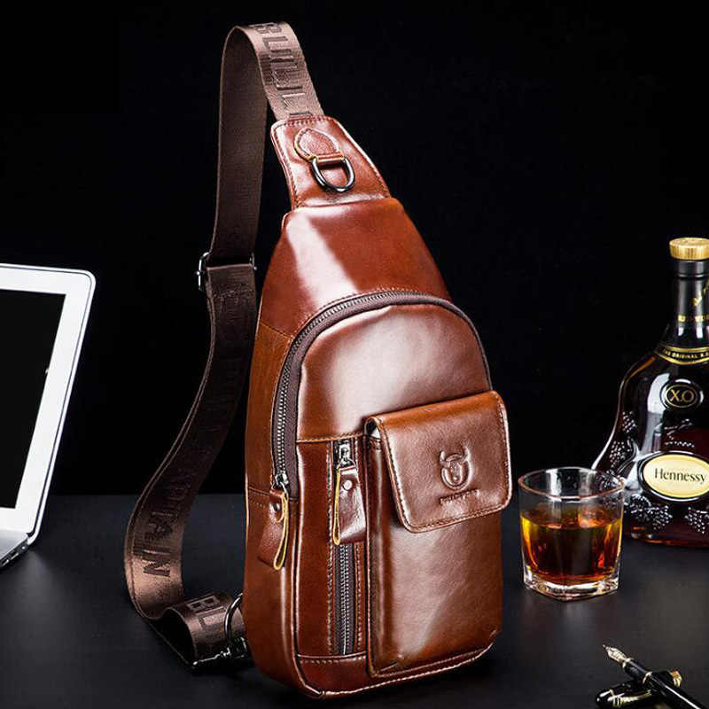 BULLCAPTAIN 2019 New Fashion Genuine Leather Crossbody Bags for Men Messenger Chest Bag Packs Travel Single Shoulder Strap Pack