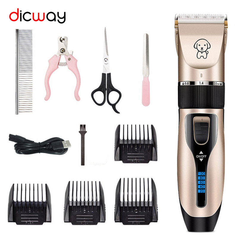 Pet Clipper Professional Grooming Rechargeable Pet Cat Dog Hair Trimmer Kit Shaver Set Animals Electric Hair Cutting Clippers