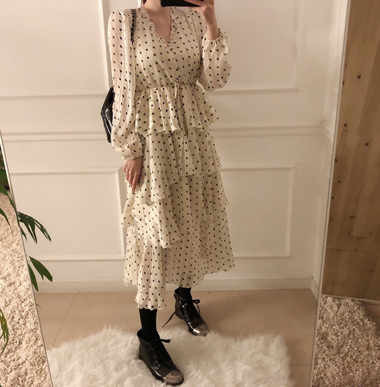 H0d93cf17302e4c89b5f5cb7b32e8e76eG - Autumn V-Neck Long Sleeves Satin Polka Dots Multi-Layers Midi Dress