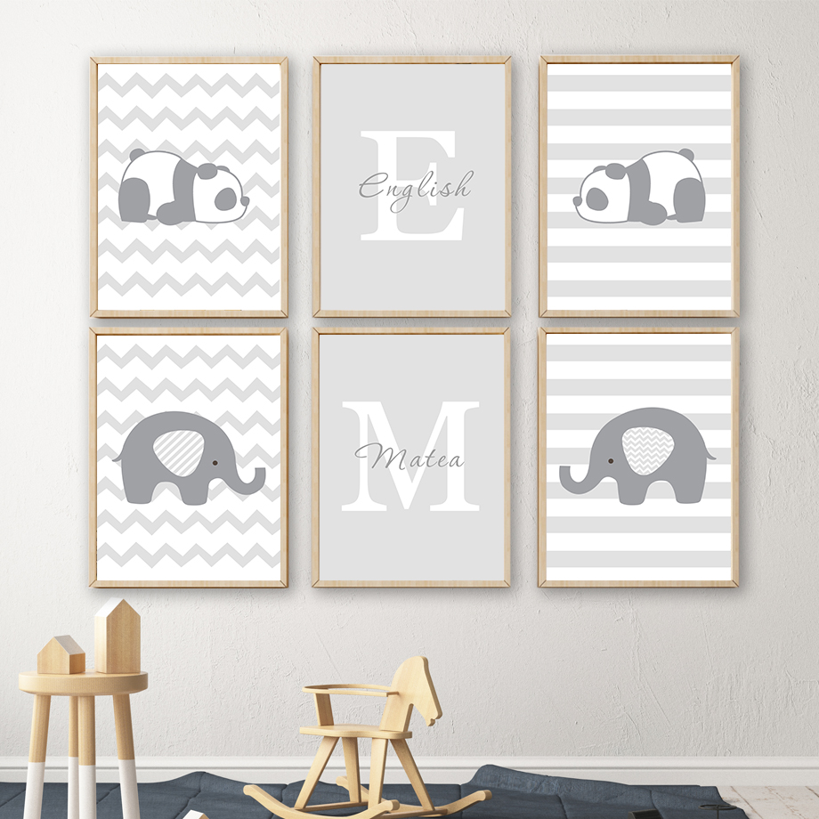 Grey Panda Elephant Letter M Letter E Nordic Posters And Prints Wall Art Canvas Painting Nursery Wall Pictures Kids Room Decor