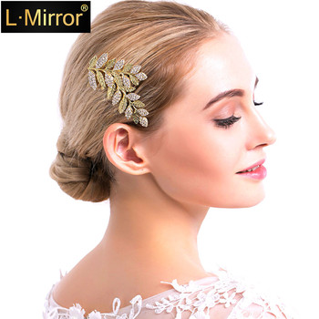 L.Mirror 1Pcs Hair Combs  Pins Rhinestones Crystals Leaves   Bridal Wedding  Clip For women  girls gorgeous artificial crystals rhinestones oval necklace for women