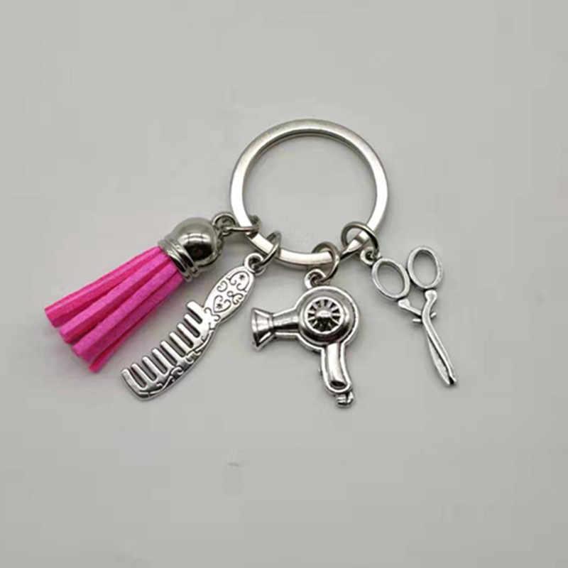 Baru Gaya Rambut Fashion Hadiah Pesona Rumbai Gantungan Kunci Perhiasan Retro Mini Gunting Rambut Pengering Rambut Sisir Gantungan Kunci Diy Manual