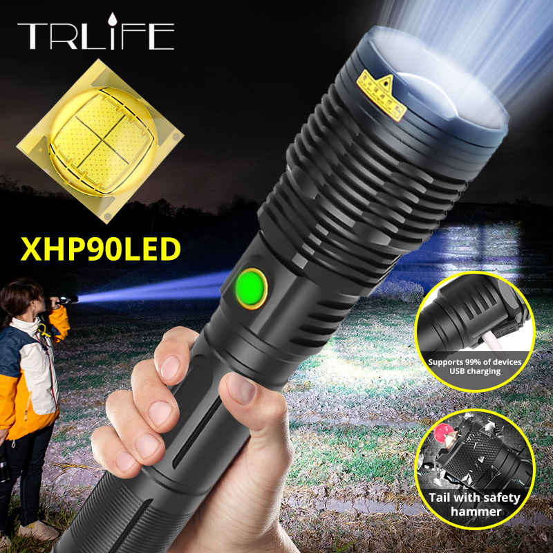 NEW XHP90 18650 Flashlight LED XHP70.2 Zoom Torch 26650 Camping Lamp Most Powerful USB XHP50 Tactical Light Window Safety Hammer