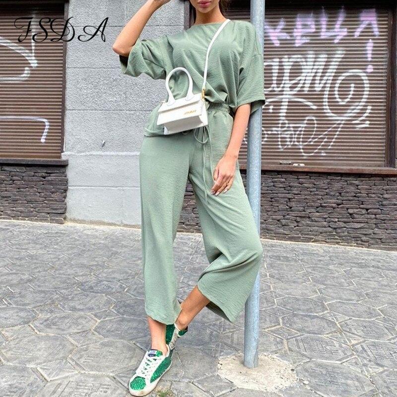 FSDA-Conjunto de dos piezas formado por Top y pantalón largo, de manga corta Camiseta holgada, color caqui, para verano, 2020