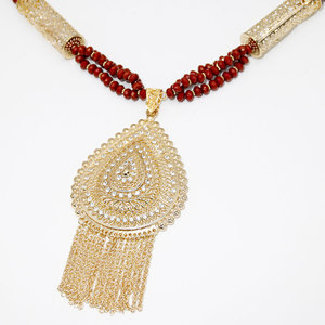 Image 3 - Sunspicems Gold Color Algerian Caftan Body Chain Necklace for Women Bust Accessory Ethnic Wedding Long Bead Jewelry Bridal Gift