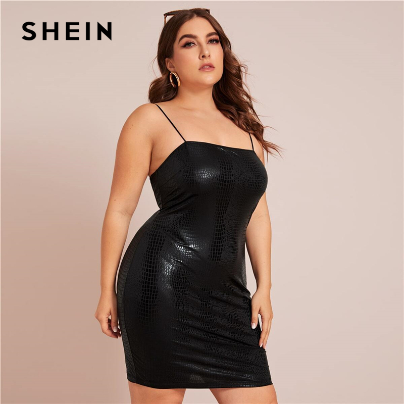 SHEIN Plus Size Black Crocodile Embossed Cami Bodycon Dress Women 2020 Spring Long Sleeve Plus Sexy Glamorous Mini Dresses