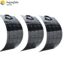 300 واط لوحة طاقة شمسية متساوية 3 قطعة 100 واط لوحة شمسية خلية شمسية أحادية البلورية 100 واط مرنة لوحة طاقة شمسية 12 فولت شاحن بالطاقة الشمسية للقارب/سيارة