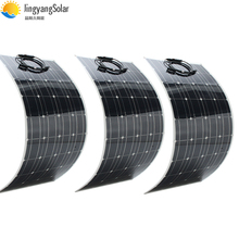 300W Zonnepaneel Gelijk 3Pcs 100W Panel Solar Monokristallijne Zonnecel 100W Flexibele Zonnepaneel 12V Solar Charger Voor Boot/Auto
