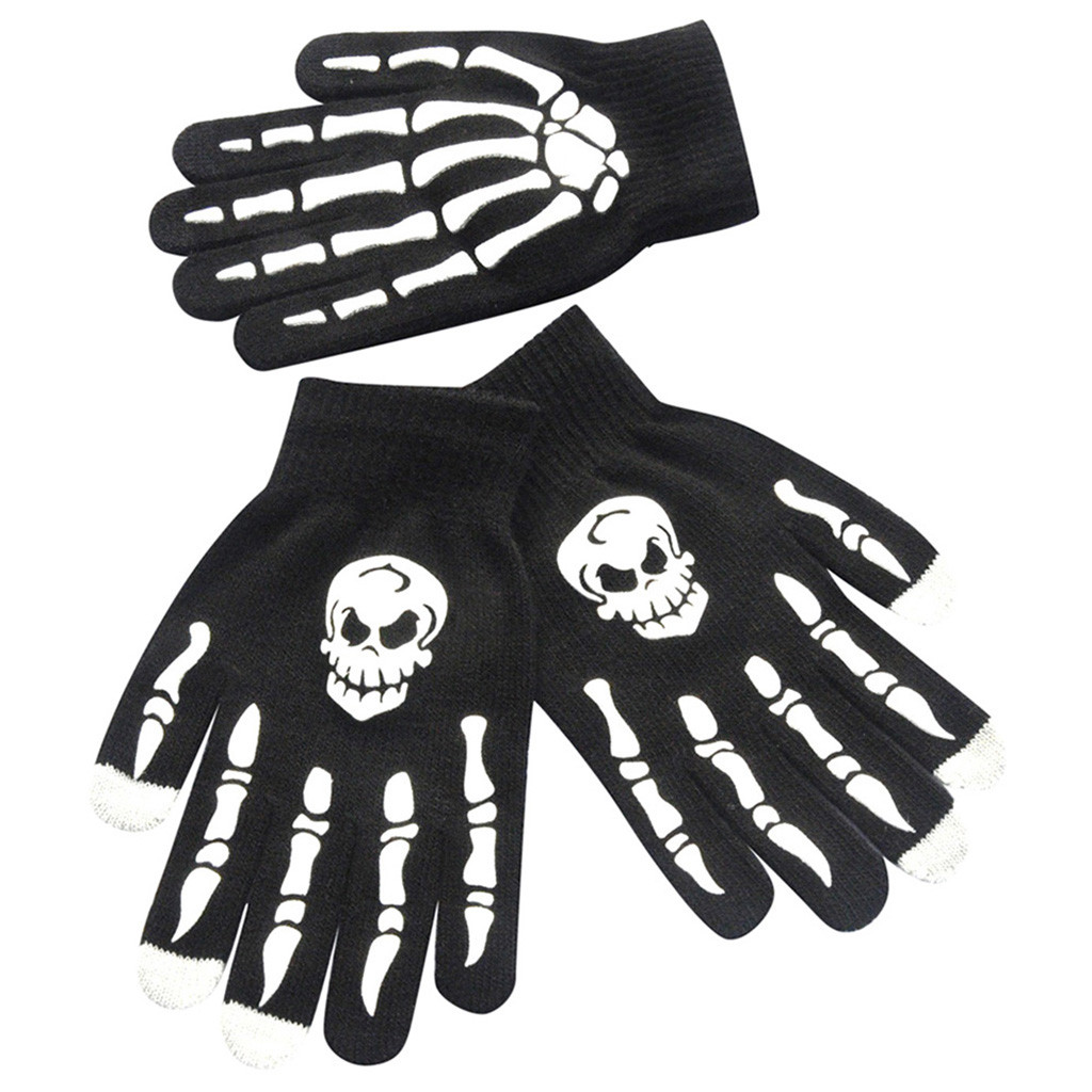 Sleeper #P501 2019 Fashion 1Pair Men Skull Bone Skeleton Goth Racing Non-Slip Sports Full Finger Gloves  Luvas перчатки Winter